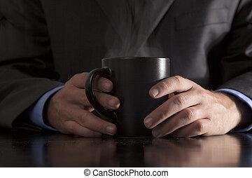 fumegue café, executivo, segura