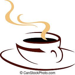 fumegue, quentes, copo, de, aromático, café