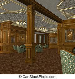 fumer, bateau, vieux, salle, luxe