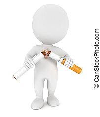 fumer, blanc, 3d, arrêté, gens