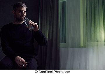 fumer, boire, homme