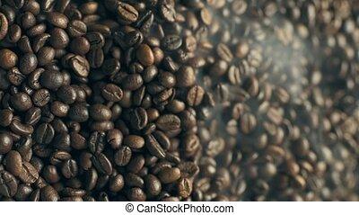 fumer, café, footage., rôti, vertical, beans.