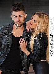 fumer, couple, mode, cigarette