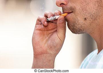 fumer, dehors, homme, adulte, cigarette