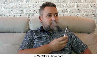 fumer, homme, électronique, cigarette
