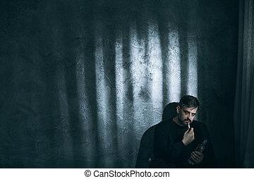 fumer, homme, adulte, cigarette