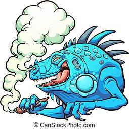 fumer, iguane