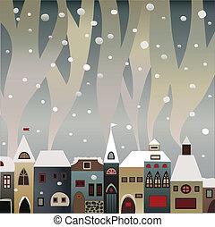 fumer, neige-couvert, maisons