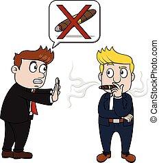 fumer, non, homme affaires