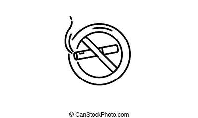 fumer, non, ligne, icône, canal alpha