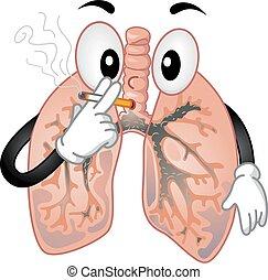 fumer, poumons, mascotte