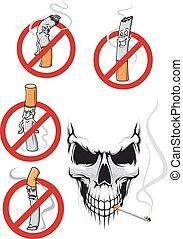fumer, signes, cartooned, crâne, non