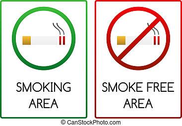 fumer, signes, fumée libère, secteur
