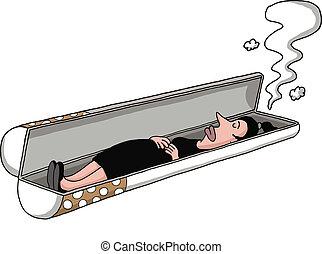 fumer, tombe