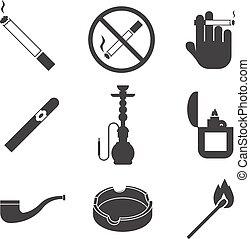 fumer, vecteur, ensemble, icônes