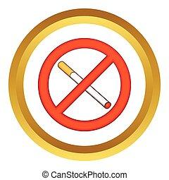 fumer, vecteur, interdit, icône