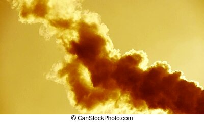 fumes billow at sunset, smoke stack, air pollution, energy ...
