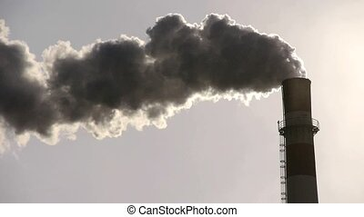 fumes billow from industry chimney,energy generation pipe...