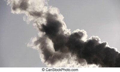 fumes billow,smoke stack,air pollution,energy generation.