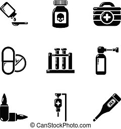 Fumes icons set, simple style - Fumes icons set. Simple set...