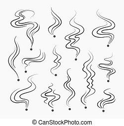 fumi, vettore, odore, fumo, segni, profumo, linea, fumo, spirale, icons.
