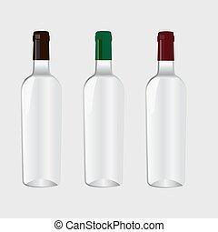 fumier, vin., haut, bouteille
