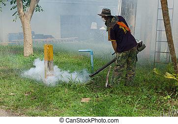 fumigate, mosquito-killing, till förebygg, sjukdom