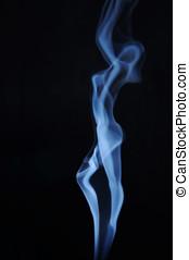 Fuming image of beautiful lady made of smoke
