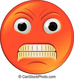 Vector illustration of a red angry emoji or emoticon.