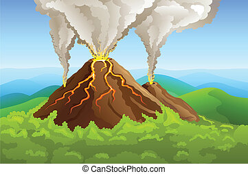 fuming volcano among green mountain with forest vector ...