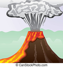 Fuming volcano with fiery lava and big column of smoke,...