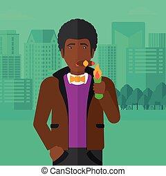 fumo, cigar., uomo