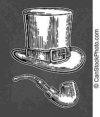 fumo, cima, gentiluomo, cappello, pipe.