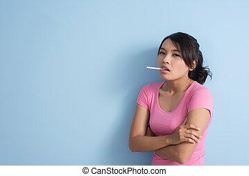 fumo, donna, asiatico