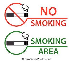 fumo, etichette, no, zona