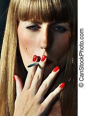 fumo, labbra, rossetto, rosso, donne