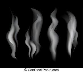 fumo nero, fondo, illustrazione, set, vettore