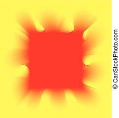 fumo, quadrato, sfondo giallo, rosso