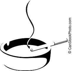 fumo, sigaretta, e, portacenere, silhoue