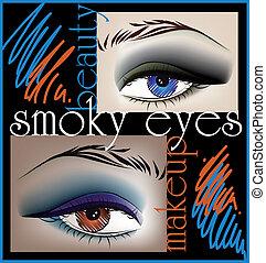 fumoso, vettore, illustrazione, occhi