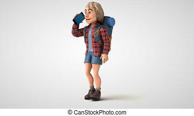 Fun 3D cartoon backpacker walking