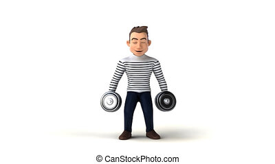 Fun 3D cartoon character with weights