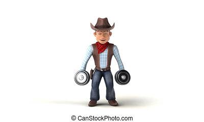 Fun 3D cartoon cowboy with weights
