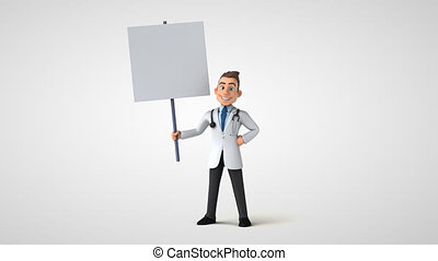 Fun 3D cartoon doctor character