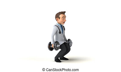 Fun 3D cartoon Doctor with weights