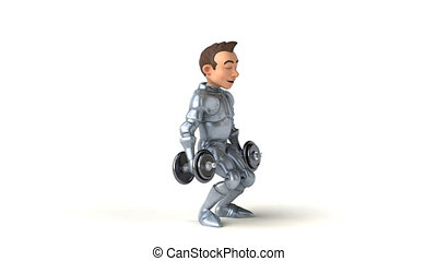 Fun 3D cartoon knight with weights