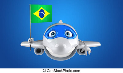 Fun 3D cartoon plane character with a brazilian flag