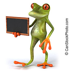 Fun 3D green tropical frog with a chalkboard