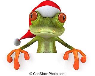 Fun 3D Illustration of a Santa Frog