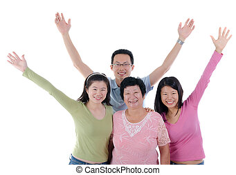 fun adult asian chinese family